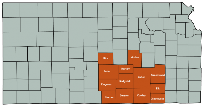 Kansas Map Featuring the following counties: Butler, Chautauqua, Cowley, Elk, Greenwood, Harper, Harvey, Kingman , Marion, Reno, Rice, Sedgwick, Sumner