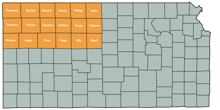 Kansas Map Featuring the following counties: Cheyenne, Decatur, Ellis, Gove, Graham, Logan, Norton, Osborne, Phillips, Rawlins, Rooks, Russell, Sheridan, Sherman, Smith, Thomas, Trego, Wallace