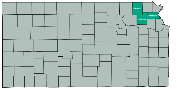 Kansas Map Featuring the following counties: Atchison, Jackson, Nemaha