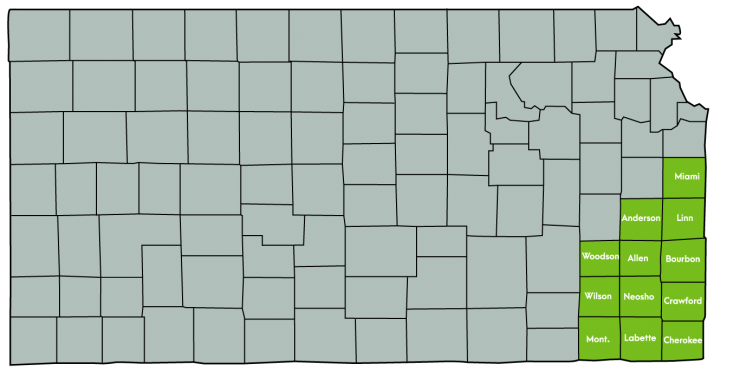 Kansas Map Featuring the following counties: Allen, Anderson, Bourbon, Cherokee, Crawford, Labette, Linn, Miami, Montgomery, Neosho, Wilson, Woodson