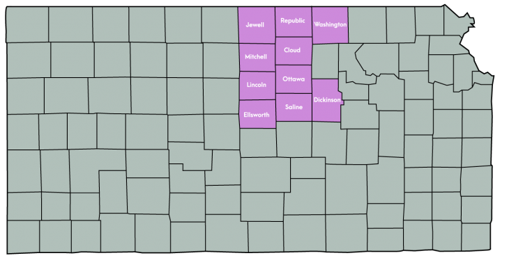 Kansas Map Featuring the following counties: Cloud, Dickinson, Ellsworth, Jewell, Lincoln, Mitchell, Ottawa, Republic, Saline & Washington