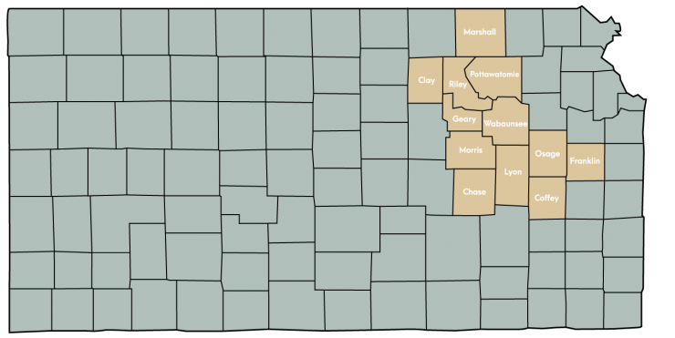 Kansas Map Featuring the following counties: Chase, Clay, Coffey, Franklin, Geary, Leavenworth, Lyon, Marshall, Morris, Osage, Pottawatomie, Riley, Wabaunsee, Wyandotte